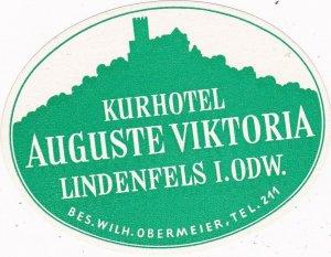 Germany Lindenfels Kurhotel Auguste Viktoria Vintage Luggage Label sk3206
