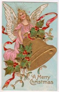 Xmas Card, Angel Ringing a Bell