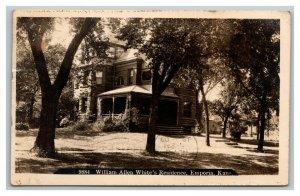Vintage 1909 Photo Postcard William Allen White Residence Emporia Kansas