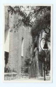 San Gabriel Mission Stairs and Bell, San Gabriel, California, CA, RPPC