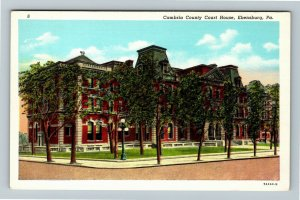 Ebensburg PA-Pennsylvania, Cambria Court House, Vintage Linen c1940 Postcard