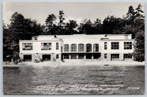 Interlochen Michigan~Art Deco Kresge Assembly Hall RPPC 1949
