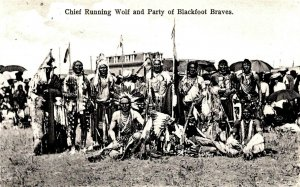 Native Americans - Chief Running Wolf and Party of Blackfoot Braves - c1907