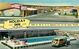 Colorpicture Holiday Inn Woody Wagon Las Vegas Nevada 1950s Postcard pool 4921