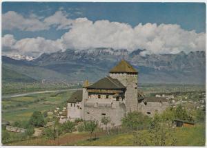 LIECHTENSTEIN, Castle of Vaduz, Swiss mountains in the background, Postcard
