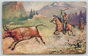 RA Davenport~Roping~Cowboy Lassos Running Steer~Western Artist~1907 Postcard