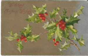 Holly Leaves and Holly Berry on Silver and Gold Gild Christmas Decoration Vintag