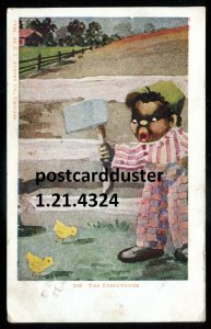 4324 - HUMOR Postcard 1918 Boy with Chicks Black Americana by Austen