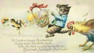 1925 A Happy Easter Tide Kittty Cat Eggs Basket Chicken Postcard Vtg Posted