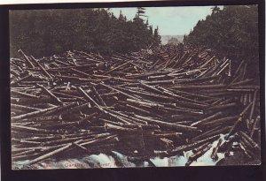 P1627 old unused postcard logging jam Carrabassett River maine