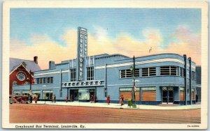 Louisville, Kentucky Postcard GREYHOUND BUS TERMINAL Station Depot Linen c1940s