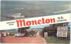 Greetings from Moncton, New Brunswick Canada 1957 pre-zip code Chrome