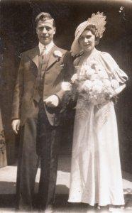 Vintage wedding real photo postcard groom & bride Fox`s Studios