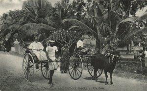 PC CPA CEYLON - SRI LANKA, RICKSHAW AND BULLOCK HACKERY, POSTCARD (b14878)