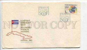 293357 Czechoslovakia 1982 year COVER Praha SOF Cuba Havana