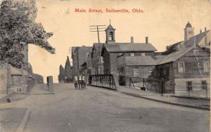E93/ Salineville Columbiana Co Ohio Postcard c1910 Main Street Church Bridge 15