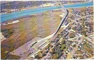 Air View Blue Water International Bridge & Area Sarnia, Ontario, Canada Chrome