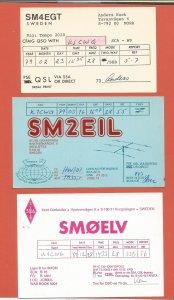 QSL AMATEUR RADIO CARDS – SWEDEN – 3 DIFFERENT CARDS – 1979-1989 (1)