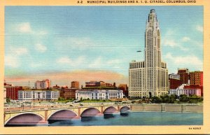 Ohio Columbus Municipal Buildings and A I U Citadel 1948 Curteich