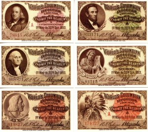 World's Columbian Exposition Admission Tickets - Group of 6  *Reproduction*