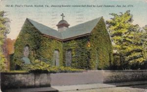 Virginia Norfolk Old St Paul's Church Showing Historic Cannonball Fired By Lo...