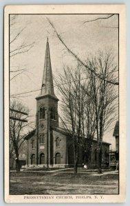 Phelps New York~Presbyterian Church~Bare Winter Trees~c1905 B&W Postcard