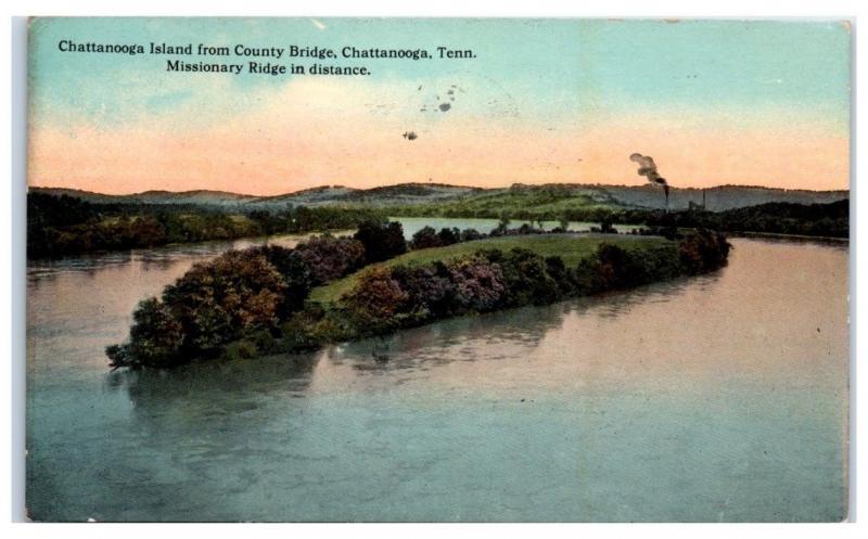 1913 Chattanooga Island from County Bridge, Chattanooga, TN