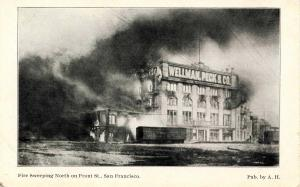 CA - San Francisco. April 1906 Earthquake & Fire. North on Front Street
