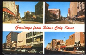 USA Postcard Greetins From Sioux City Iowa Multi View 1950s Cars