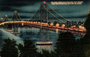 California San Francisco-Oakland Bay Bridge and San Francisco Skyline At Night