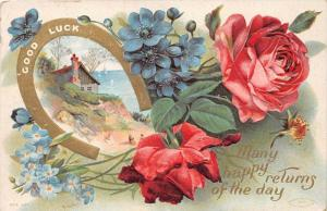 Good Luck horseshoe, Red Roses and blue flowers