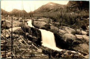 Colorado RMNP Photo RPPC Postcard Alberta Falls at Entrance to Glacier Gorge