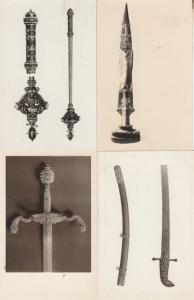 Wien Schafzkammer Silver Dagger Weapon Old Royal Regalia 3x German Postcard s