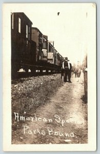 Doors Open~American Special Troop Train~WWI Soldiers Bound For Paris~RPPC 1917