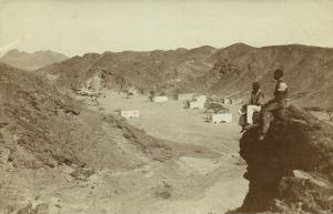 German SWA, Namibia, Houses between Mountains, Pipe Smoking (1910s) Karibib RPPC