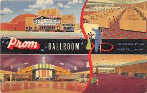 H11/ St Paul Minnesota Postcard Linen Prom Ballroom 4View Interior Dancing