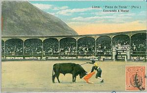 VINTAGE POSTCARD: PERU - LIMA : PLAZA DE TOROS - BULL FIGHTS