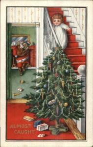 Christmas - Santa Claus - Little Boy on Stairs Peeking c1915 Postcard