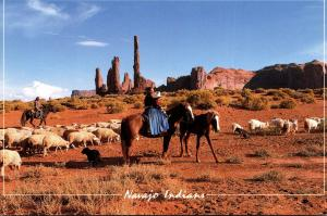 Arizona Monument Valley Navajo Indian Family Tend Their Sheep