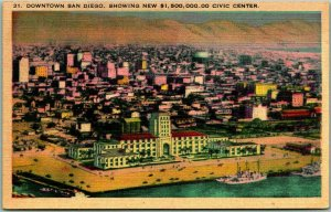 San Diego, CA Postcard Aerial View Downtown New 1,500,000 Civic Center Linen