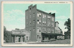 Freeburg Illinois~Freeburg Milling Co~Grain Elevator~1927 B&W Blue Sky Postcard