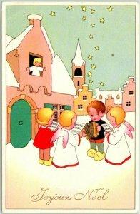 Vintage French CHRISTMAS Greetings Postcard JOYEUX NOEL Angels Singing - Unused