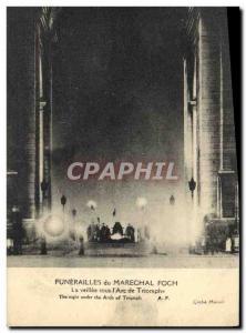 Old Postcard Funerals of Marechl Foch The vigil under the & # 39Arc de Triomp...