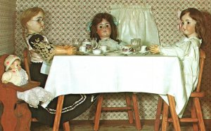 Vintage Postcard Scene Of Antique Doll Party Display Museum Embers Gift Shop