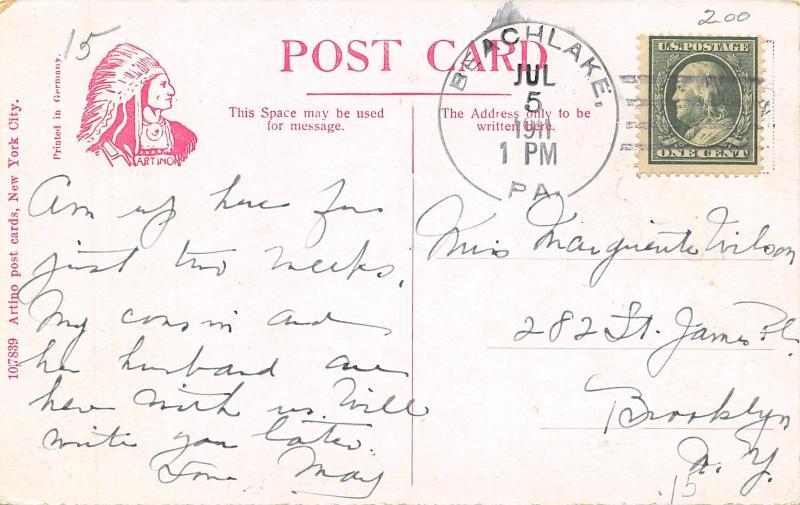 Beachlake Pennsylvania~Lovers Ramble~Here for Two Weeks~1911 Artino Postcard