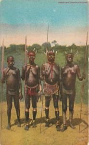 African Native Women Hunters Kill Hippo C-1910 Postcard 5921