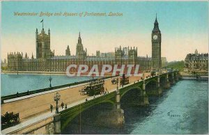 Old London Postcard Westminster Bridge and Houses of Parliament