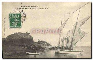 Old Postcard Saint Malo Island Boat Cezembre