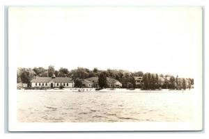 Postcard Waterfront Homes & Buildings Wooded Area RPPC J7