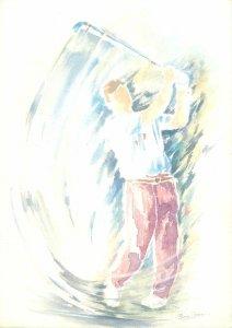 Sport Postcard Golf player swing painting P Voisin